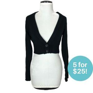 5/$25 - Garage Cropped Cardigan Two Button Black M